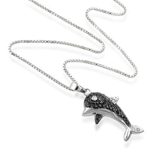 Load image into Gallery viewer, 0.25ct Black & White Diamond Dolphin Pendant w/ Chain (1/4 cttw)