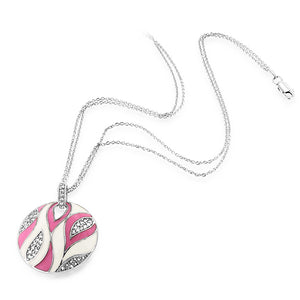 "Sterling Silver Retro Pink & White Enamel Circle Pendant with 18"" Chain"