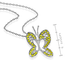 Load image into Gallery viewer, Sterling Silver Yellow & White Sapphire Butterfly Pendant