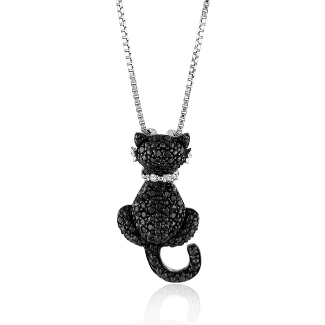 0.25 ctw Black and White Diamond Cat Pendant