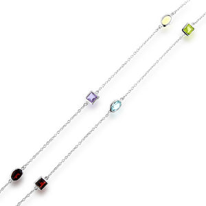 12.50 Carat tw Multi-Gemstone Station Necklace in Sterling Silver