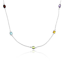 Load image into Gallery viewer, 12.50 Carat tw Multi-Gemstone Station Necklace in Sterling Silver