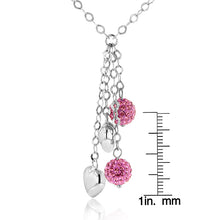 Load image into Gallery viewer, Sterling Silver Pink Crystal Y Necklace