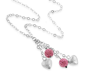 Sterling Silver Pink Crystal Y Necklace