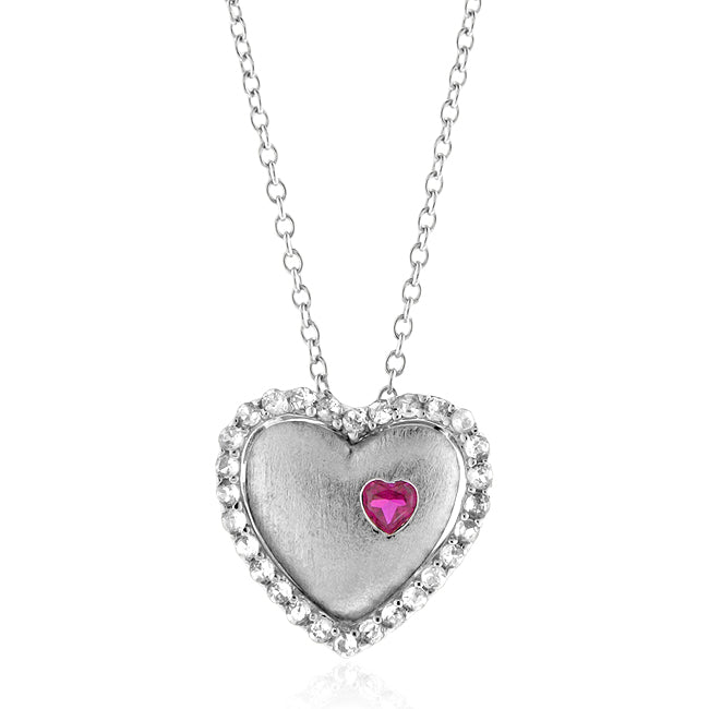 1.50 Carat tw Ruby & White Sapphire Heart Pendant in Sterling Silver with 18
