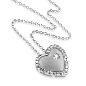 "1.50 Carat tw White Sapphire Double Heart Pendant in Sterling Silver with 18"" Chain"