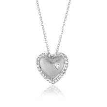 "Load image into Gallery viewer, 1.50 Carat tw White Sapphire Double Heart Pendant in Sterling Silver with 18"" Chain"