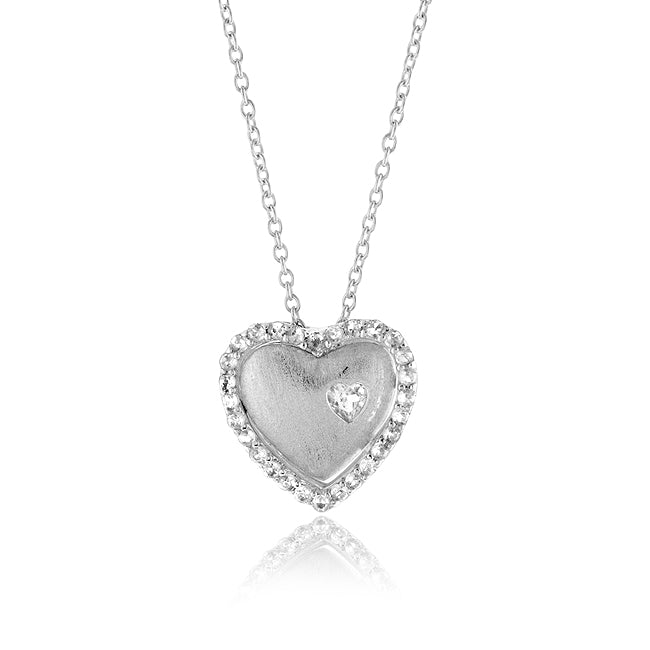 1.50 Carat tw White Sapphire Double Heart Pendant in Sterling Silver with 18