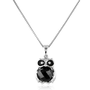 Sterling Silver CZ Owl Pendant