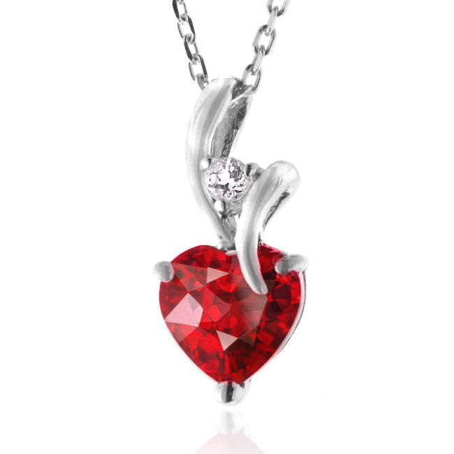 2.30 Carat Ruby & White Sapphire Heart Pendant in Sterling Silver with Chain