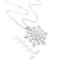 "Load image into Gallery viewer, 1/4 Carat tw Diamond Sterling Silver Snowflake Pendant with 18"" Chain"