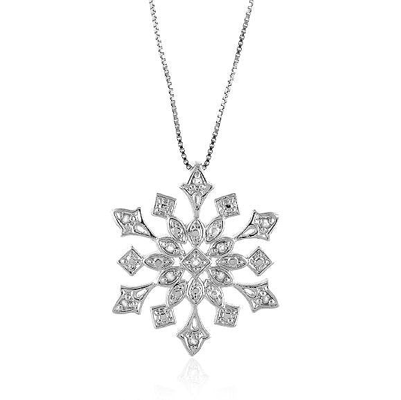 1/4 Carat tw Diamond Sterling Silver Snowflake Pendant with 18