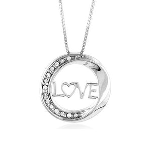 "Sterling Silver & Diamond Circle of Love Pendant with 18"" Chain"