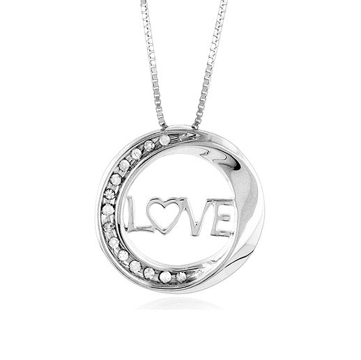Sterling Silver & Diamond Circle of Love Pendant with 18
