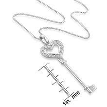 "Load image into Gallery viewer, Sterling Silver Created White Sapphire Heart Key Pendant w/ 18"" chain"