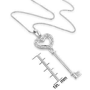 "Sterling Silver Created White Sapphire Heart Key Pendant w/ 18"" chain"