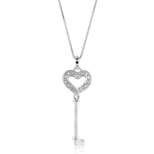 Sterling Silver Created White Sapphire Heart Key Pendant w/ 18