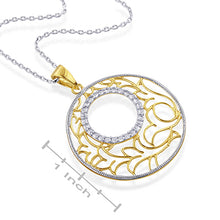 "Load image into Gallery viewer, Sterling Silver Fancy Design Pendant with White Sapphires & 18"" Chain"