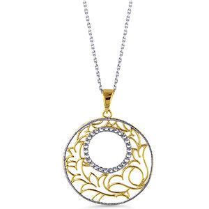 "Sterling Silver Fancy Design Pendant with White Sapphires & 18"" Chain"