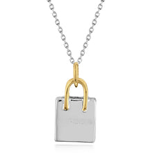 Load image into Gallery viewer, Sterling Silver Two-Tone SHOPAHOLIC Bag Pendant