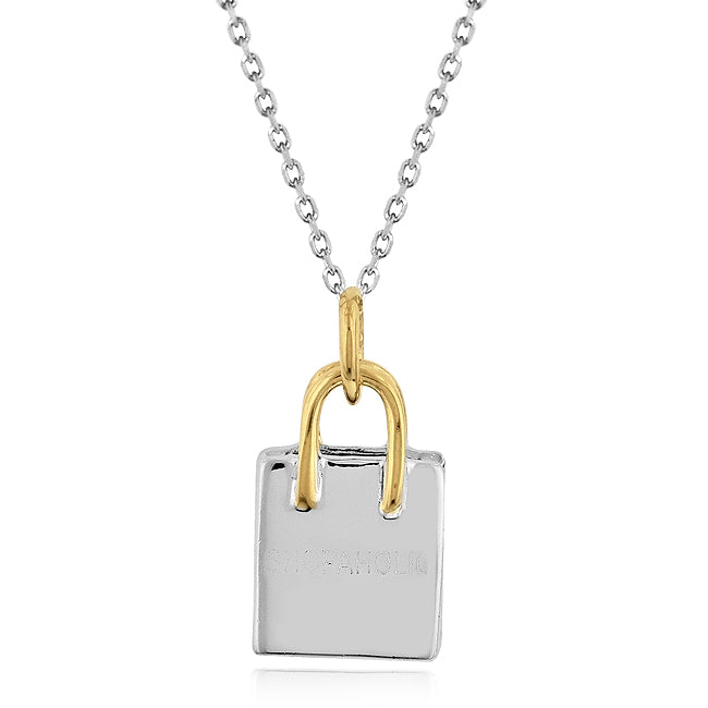 Sterling Silver Two-Tone SHOPAHOLIC Bag Pendant