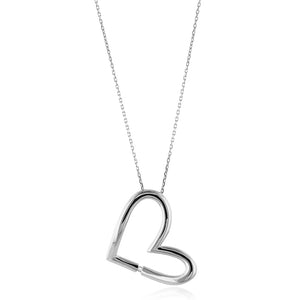 Designer Diamond Heart Pendant in Sterling Silver