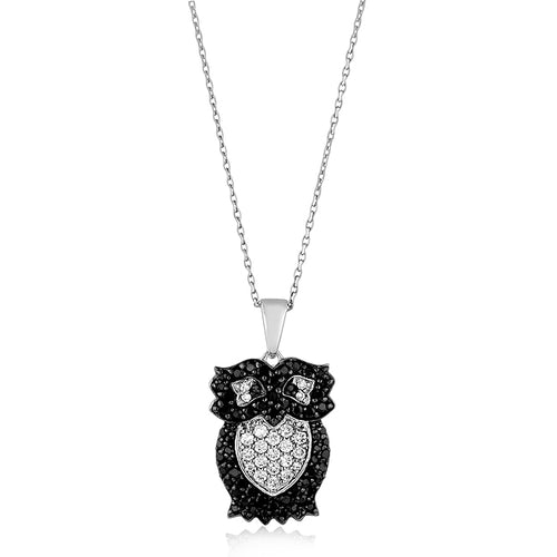 Black & White CZ Owl Pendant/Necklace in Sterling Silver