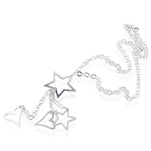 Load image into Gallery viewer, Sterling Silver rolo necklace With Stars And Hearts