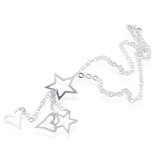 Sterling Silver rolo necklace With Stars And Hearts