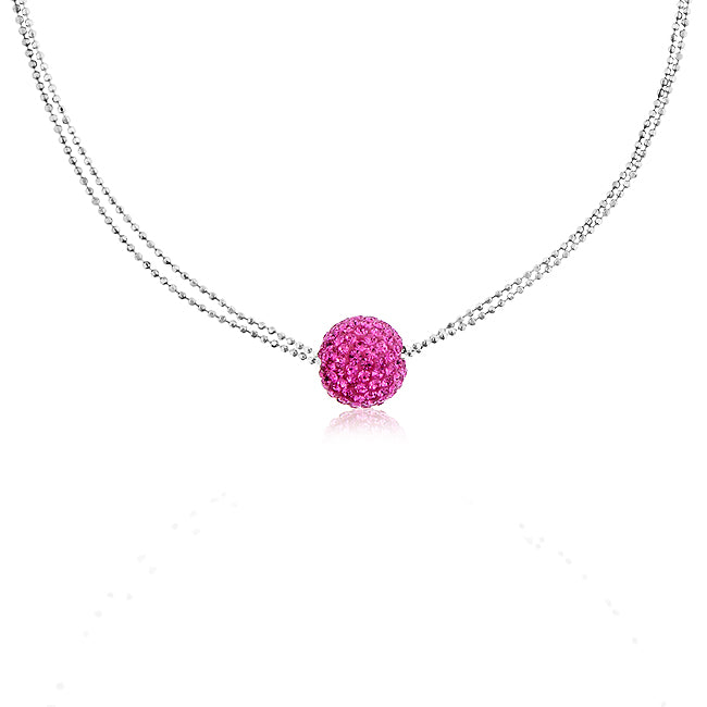 Sterling Silver & Pink Crystal Ball Necklace - 16