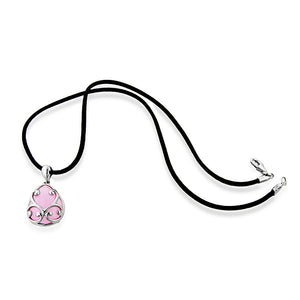 "Sterling Silver & Pink Glass Teardrop Pendant with 18"" Silk Cord"