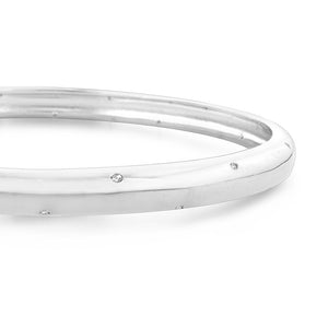 0.12ct TDW Diamond Fashion Bangle Bracelet in Sterling Silver -7.75""