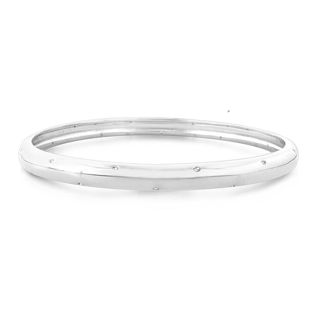 0.12ct TDW Diamond Fashion Bangle Bracelet in Sterling Silver -7.75
