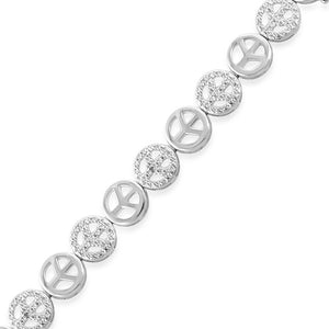Diamond Accented Peace Sign Bracelet in Sterling Silver