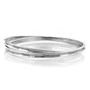Sterling Silver Today Tomorrow Forever Double Fancy Bangle