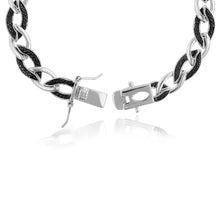 Load image into Gallery viewer, 1/2 Carat tw Black Diamond Links Bracelet in Sterling Silver - 7.5""