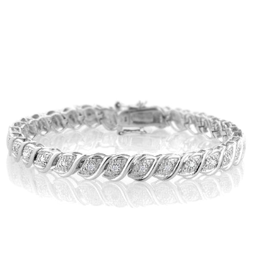 1/2 Carat tw Diamond Tennis Bracelet in Sterling Silver - 7.5