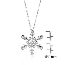 "Load image into Gallery viewer, Sterling Silver Snowflake Pendant w/ Created White Sapphire and 18"" Chain"