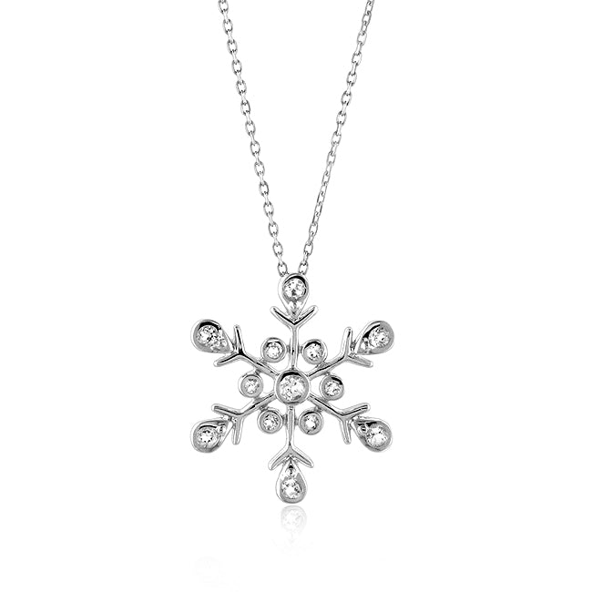 Sterling Silver Snowflake Pendant w/ Created White Sapphire and 18