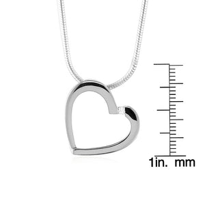 Diamond Accented Heart Pendant/Necklace in Sterling Silver