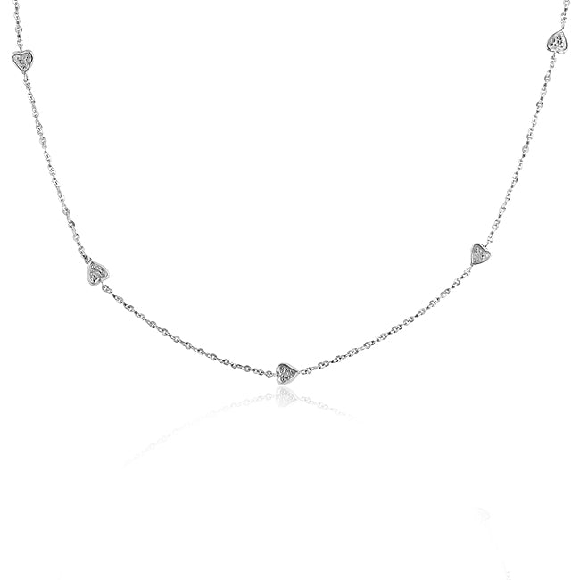 Sterling Silver & Diamond Hearts Station Necklace