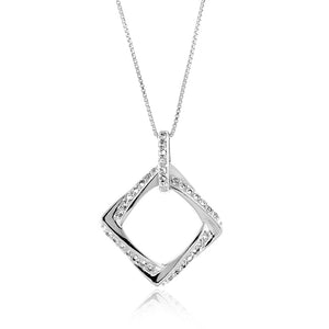 "3/4 Carat tw White Sapphire Square Pendant in Sterling Silver with 18"" Chain"