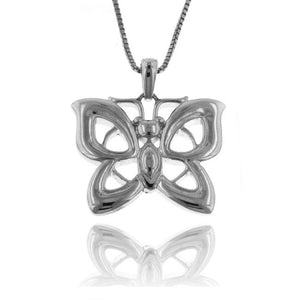 Sterling Silver Rhodium Butterfly Pendant