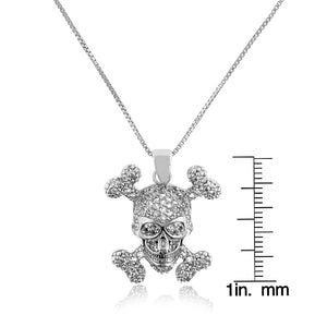 "1.00 Carat tw White Sapphire Skull & Cross Bones Pendant in Sterling Silver with 18"" Chain"