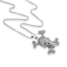 "Load image into Gallery viewer, 1.00 Carat tw White Sapphire Skull & Cross Bones Pendant in Sterling Silver with 18"" Chain"