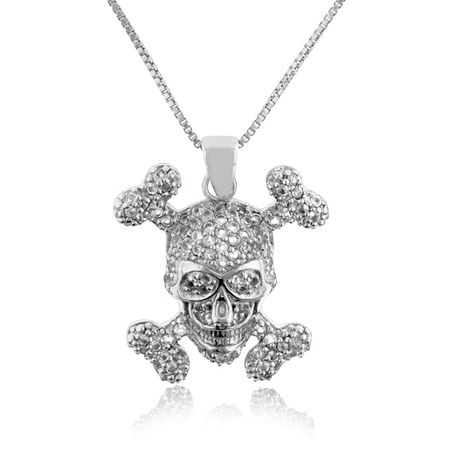 1.00 Carat tw White Sapphire Skull & Cross Bones Pendant in Sterling Silver with 18