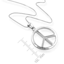 "Load image into Gallery viewer, Sterling Silver Peace Sign Pendant with 18"" Chain"