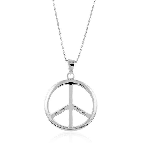 Sterling Silver Peace Sign Pendant with 18
