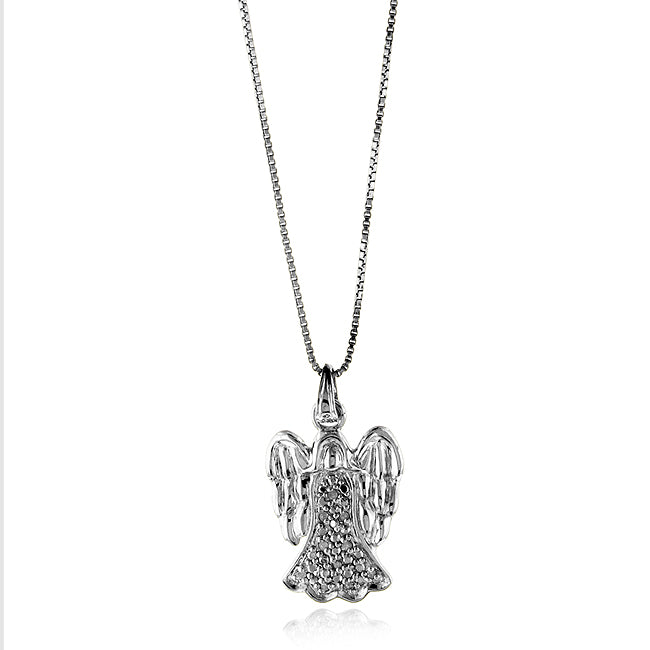 Sterling Silver Diamond Angel Pendant w/18 in Chain
