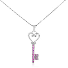 "Load image into Gallery viewer, 1/4 Carat tw Pink Sapphire Key Pendant in Sterling Silver with 18"" Chain"